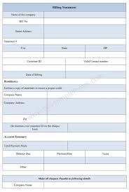 Billing Statement Form Bill Template Statment Samples Format Sample