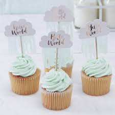 Rose Gold And Cloud Baby Shower Cupcake Toppers By Favour Lane