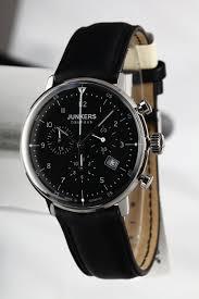 junkers men s bauhaus quartz watch black dial chronograph junkers men s bauhaus quartz watch black dial chronograph display and black leather strap amazon co uk watches