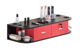 barberpub wall mount styling station barber beauty spa salon equipment red black 5012 3