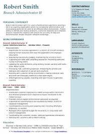 Admin Job Profile Resume Branch Administrator Resume Samples Qwikresume