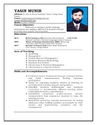 Resume Format For Teaching Job It Resume Cover Letter Sample