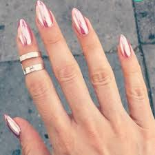 Rose Gold Pink Chrome Nail Art Nails Zlaté Nehty Nehty A