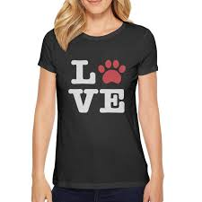 Short Sleeve Beautiful Women Animal Lover Dog Paw Top Slim
