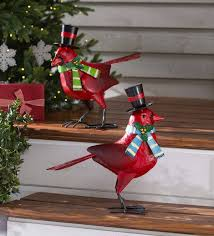 holiday cardinal metal garden statues