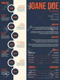 Modern Resume Cv Curriculum Vitae Template Beginning With Timeline