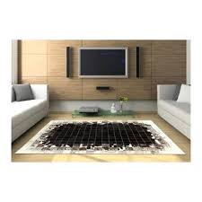 patchwork cowhide rug brown white black k 8x10