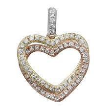 double heart diamond pendant in 9ct white yellow red gold 0