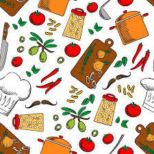 cooking utensils wallpaper. Cooking Products And Kitchen Utensils Seamless Background Wallpaper With Vector Pattern Icons Of Pepper On