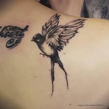 татуировка ласточка смешанный стиль геометрия дотворк реализм