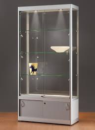 glass display cabinet 315 1000 silver with storage and side lights