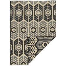 linon home decor salonika veria black gray and cream 5 ft x 8 ft reversible area rug rug sa4257 the home depot