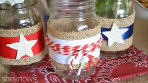 Adorn Mason jars with red, white and blue ribbon for a patriotic decoration