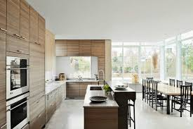 White Stained Wood Kitchen Cabinets Kitchen Natural Stone Exposed Kitchen Island Brown Varnished