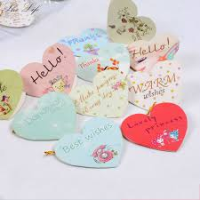 Us 6 63 5 Off 160 Pcs Heart Shaped Small Greeting Cards Blessing Best Wishes Happy Birthday Holiday Wedding Decor In Cards Invitations From Home