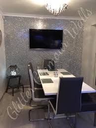 silver wallpaper dining room accent