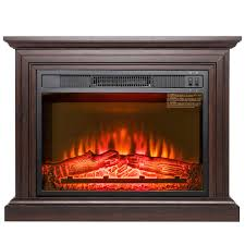 freestanding electric fireplace heater in brown with wooden mantel