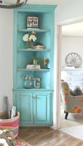 Corner Kitchen Hutch Furniture Turquoise Painted Corner Built In Its She Den Makeover Reveal