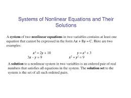 systems of nar equations and their solutions n