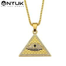 whole 18k gold men women iced out crystal evil eye pendants egyptian pyramid necklaces triangle portrait bling bling jewelry gold chains diamond