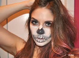 half skeleton face makeup skull bone a pop of colour