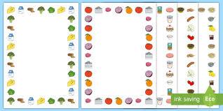 fruit and vegetables border. Unique Fruit Fruit And Vegetables Themed A4 Page Border  Food Fruit Vegetables Page  Border N
