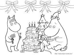 クリスマスの塗り絵ムーミン 冬季節クリスマスサンタクロースの