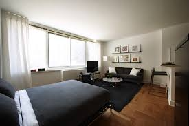 Apartment:Futuristic Studio Apartment Furniture With Dark Grey Bed Sheet  And Black Rug On Wooden