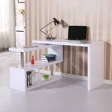 new homcom foldable rotating office desk shelf combo writing table white