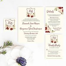 Printable Wedding Invitations With Rsvp Floral Wedding