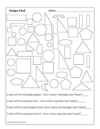 Color Shapes Worksheet Many Interesting Cliparts