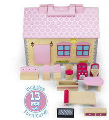 Wooden Wonders Take-Along Country Cottage Folding Dollhouse with 13 Pieces  of Furniture by Imagination Generation TDOL-004 Dollhouses