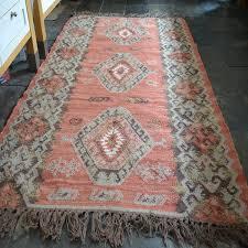100 wool rust grey brown kilim rug