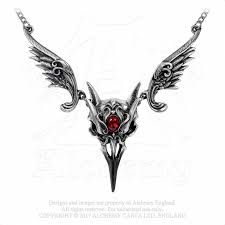 alchemy gothic masque of the black rose raven skull pendant necklace