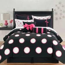 black white and pink polka dot bedd
