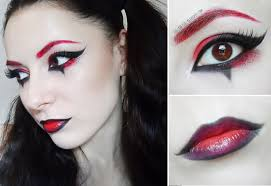 you red and black makeup tutorial red eyebrown harley quinn arlequin makeup tutorial ger pictures joker