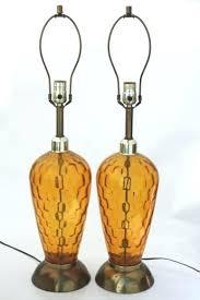 amber glass lamp amber lamp mid century vintage tall glass lamps retro amber glass table lamp
