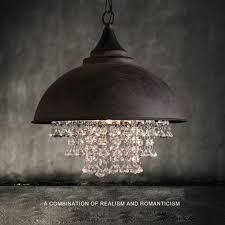 rustic industrial crystal pendant light loft vintage chandelier ceiling lamp