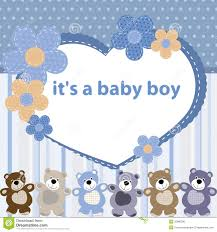 Card For Baby Boy Greeting Card With The Birth Of A Baby Boy Stock Vector