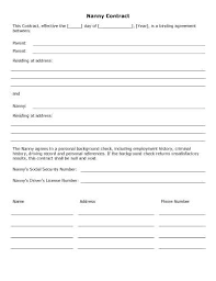 Sample Contract Templates In Word Nanny Simple Business