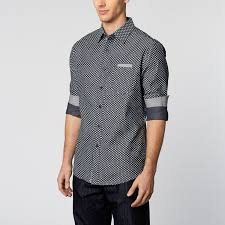 Patterned Button Up Shirts Impressive Woven Patterned ButtonUp Shirt Navy L Smash Trends Weekend
