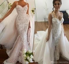 2017 luxurious lace arabic wedding dresses spaghetti mermaid