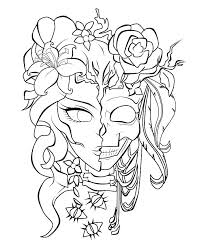 Day Of The Dead Coloring Pages For Adults Day Dead Makeup Girl