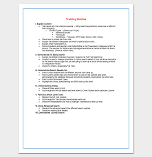 Training Templates For Word Training Course Outline Template For Word Outline Format