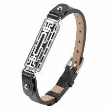 details about black leather and metal band bangle pendant bracelet for fitbit flex 2 flex2