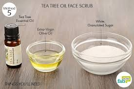 things needed to make tea tree oil face scrub using white sugar and olive oil
