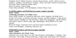 information architect resume data warehouse architect job description data warehouse architect