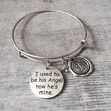 i used to be his angel now he s mine memorial gift bereavement loss of loved one silver charm bracelet dad daddy father grandfather by sajolie