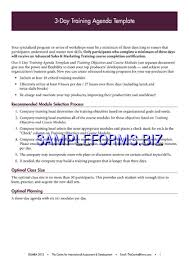 Training Agenda Template Samples Forms
