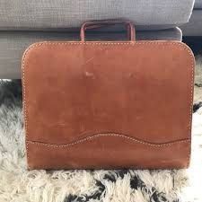 details about vintage leather briefcase bag leather goods california saddle salz brown